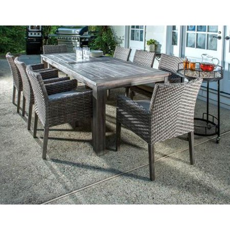 Alfresco Home Cornwall Woven Wood Rectangular Table Dining Set picture