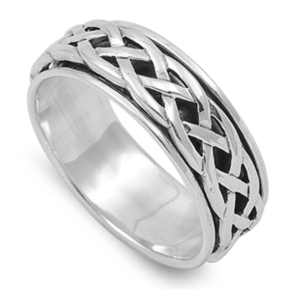 Spinner Men's Wedding Celtic Weave Ring ( Sizes 4 5 6 7 8 9 10 11 12 13 14 ) New .925 Sterling Silver Band Rings by Sac Silver (Size 5)
