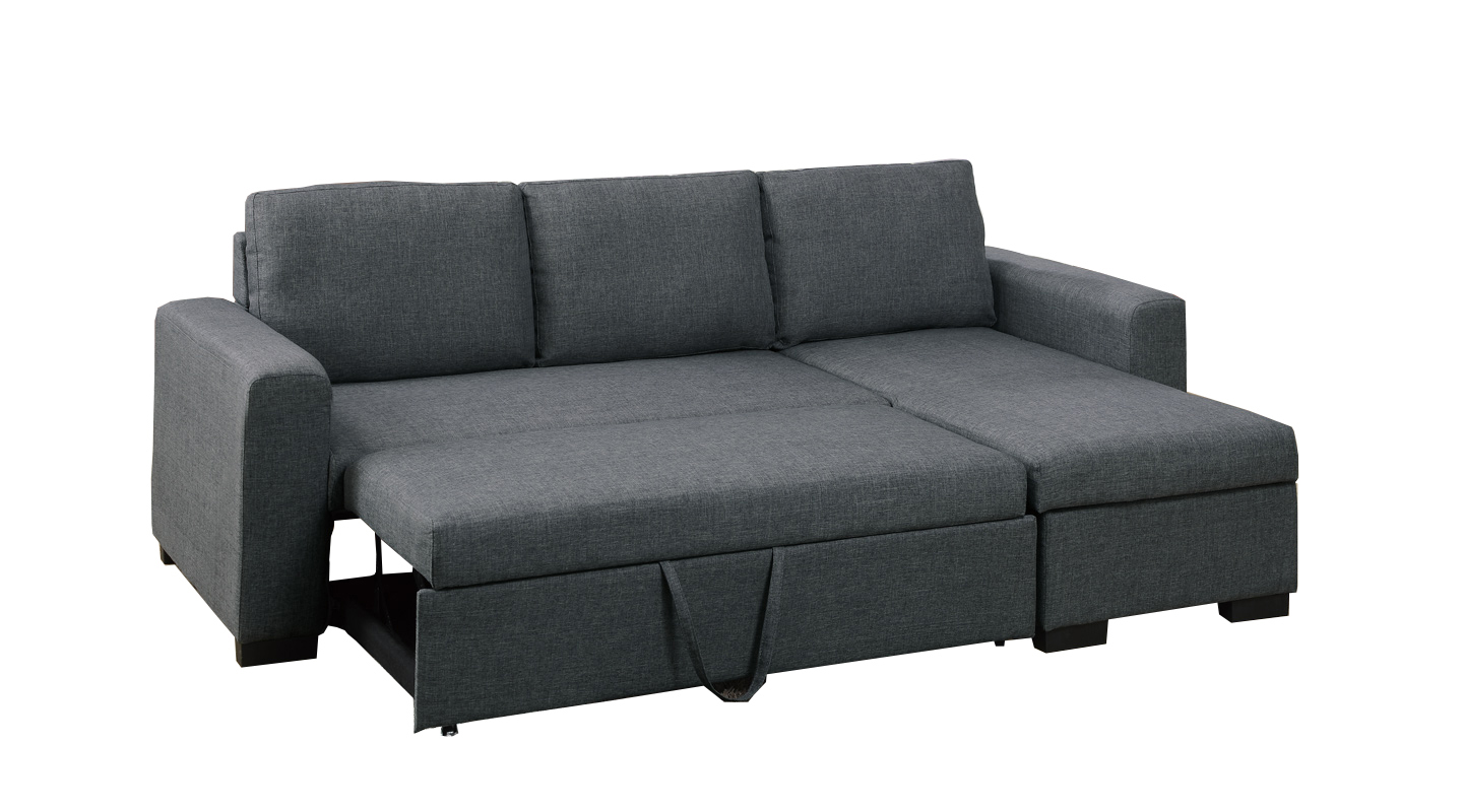 Bobkona Jassi Polyfabric Sectional with Pull-Out Bed and Compartment, Multiple Colors by Poundex