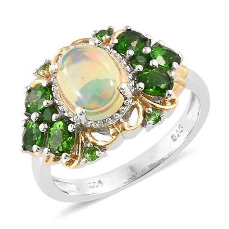 925 Sterling Silver Platinum Plated Oval Opal Chrome Diopside Fashion Ring For Women