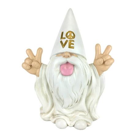 """GlitZGlam Rocker Gnome – """"George"""" – Peace and Love - This Gnome Brings Peace and Love to All and Your Fairy Garden and Gnome Garden 10 Inches Tall Garden Gnome Figurine - Gnome Glider"""