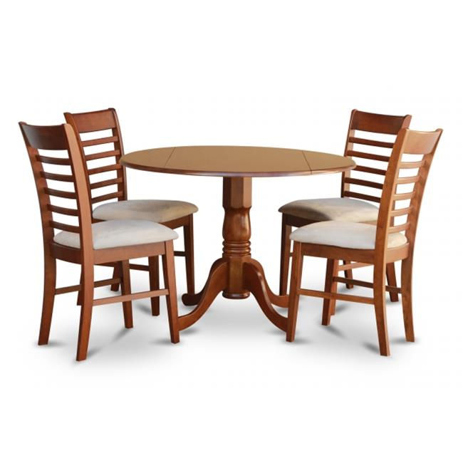 East West Furniture DLML5-SBR-C 5PC Kitchen Round Table with 2 Drop Leaves and 4 Ladder-back Chairs with Microfiber Upholstered Seat