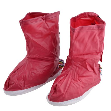 Lady Rainy Day PVC Water Resistant Shoes Protector Covers Burgundy Pair US