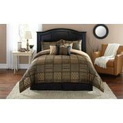 Mainstays Gold/Black Hayden Patchwork 7-Piece Bedding Comforter Set