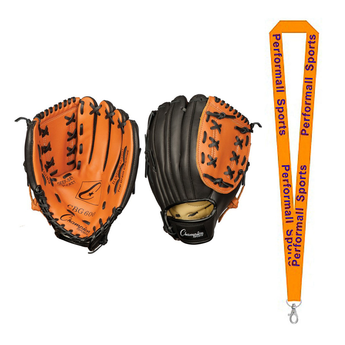 "Champion Sports Bundle: 11"" Fielder's Glove Brown/Black with 1 Performall Lanyard CBG600-1P"