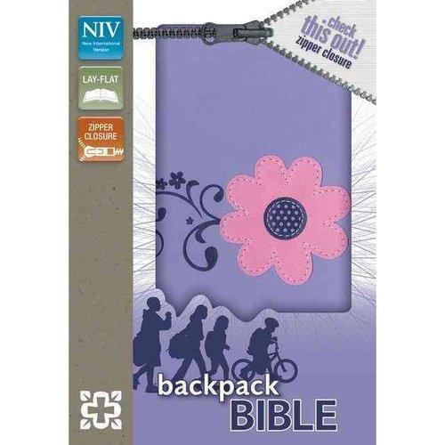 Holy Bible: New International Version, Pretty Purple, Italian Duo-Tone, Zipper Closure, Leather, Backpack Bible
