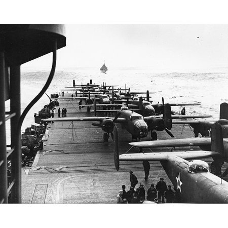 LAMINATED POSTER North American B-25 Mitchell medium bomber on the flight deck of USS Hornet (CV-8), while en route t Poster Print 24 x 36