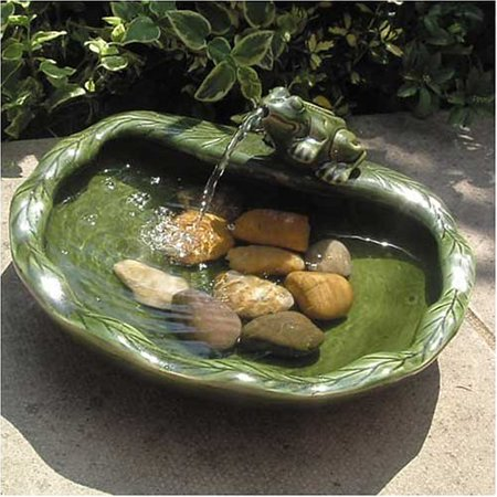 Smart Solar Green Glazed Ceramic Frog Solar Bird Bath Fountain ()
