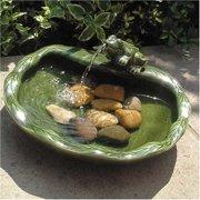 Smart Solar Green Glazed Ceramic Frog Solar Bird Bath Fountain
