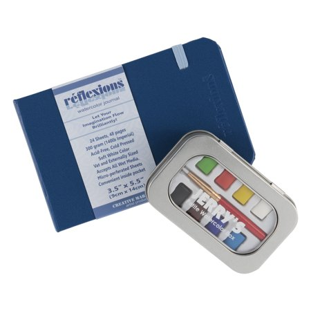 Jerry's Artarama Petite Watercolor Paint Set, Reflexions Plein Air Artist Watercolor Journal & 8 Pan Travel Set Includes Small Brush, Heavy Weight Bound, Perforated Paper Journal 3.5