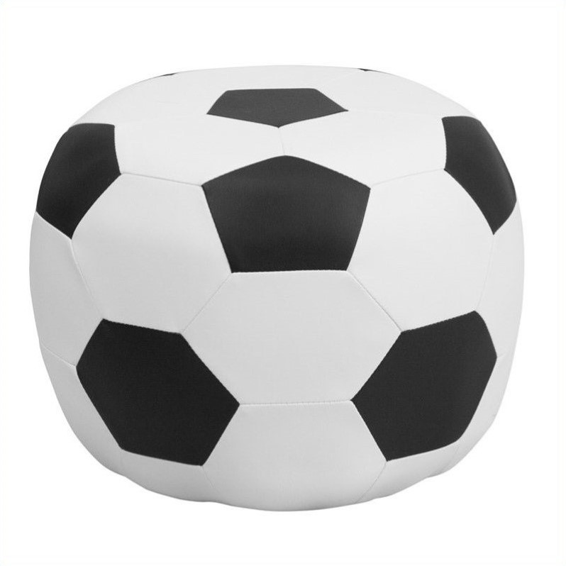 Flash Furniture Kids Soccer Stool in Black and White by Flash Furniture