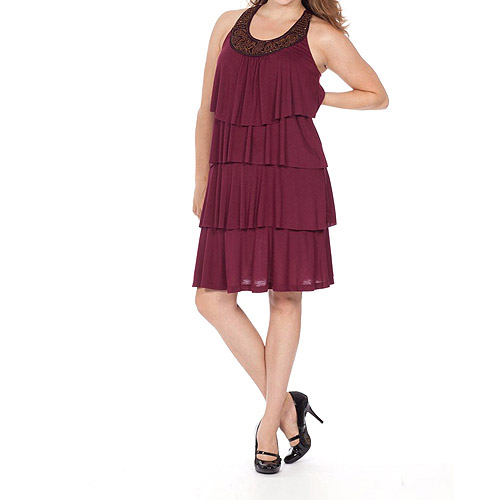 Moda Women's Tiered Knit Dress With Beading Detail