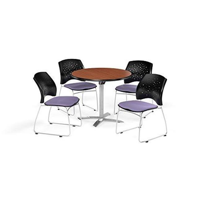 """OFM Multi-Use Break Room Package, 42"""" Round Flip-Top Table with Stars Stack Chairs, Cherry Finish with Shamrock Green Seats (PKG-BRK-166)"""