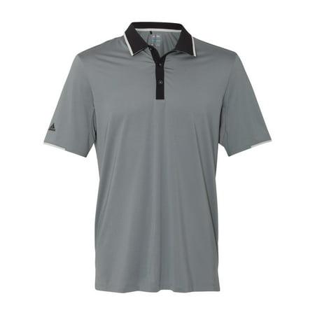 Adidas A166 Men's Climacool Performance Polo -Grey/Black/Stone-Medium