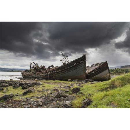 Posterazzi DPI12279527LARGE Two Large Boats Abandoned on The Shore - Isle of Mull Argyll & Bute Scotland Poster Print - 38 x 24 in. - Large - image 1 of 1