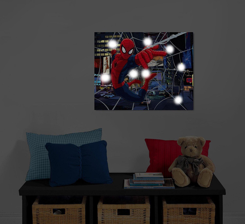 Marvel Spiderman Light Up Canvas Wall Art With Bonus Led Lights Walmart Com Walmart Com