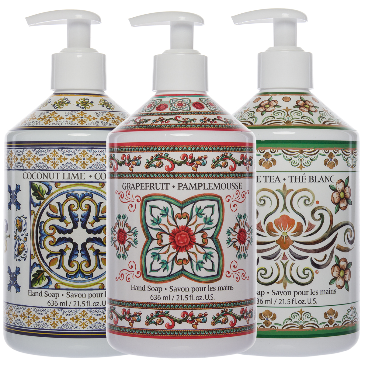 3 Pack Fruits & Flowers Liquid Hand Soap 21oz Pump Dispenser Bottles Bathroom Sink Bundle