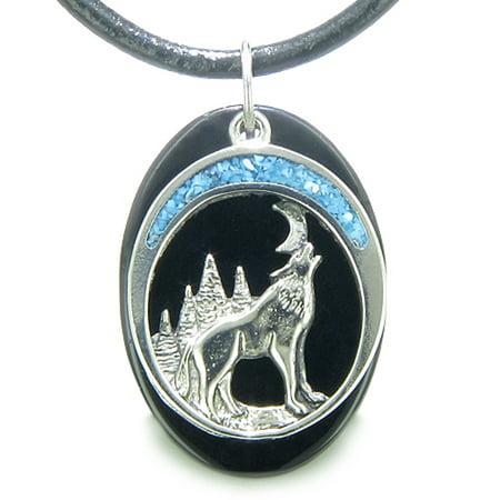 Howling Wolf Moon Amulet Spiritual Black Agate Gemstone Leather Pendant (Lazuli Amulet Pendant)