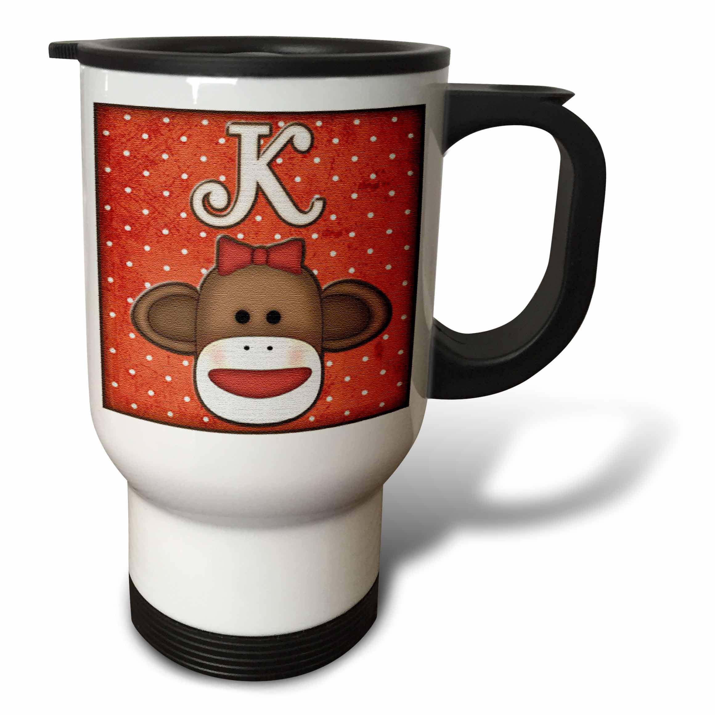 3dRose Cute Sock Monkey Girl Initial Letter K, Travel Mug, 14oz, Stainless Steel