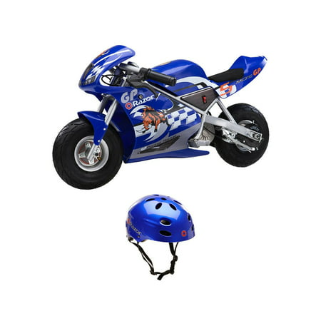 Razor 24-Volt Mini Electric Motorcycle Pocket Rocket + V17 Youth Helmet, Blue - Micro Mini Helmet