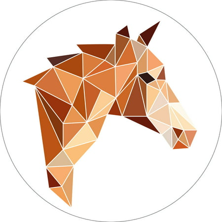 Round Origami (Horse Polygon Horse Art Sign Geometric Home Origami Wall Shelf Decor Round Size (9,12,or 18 Inches))