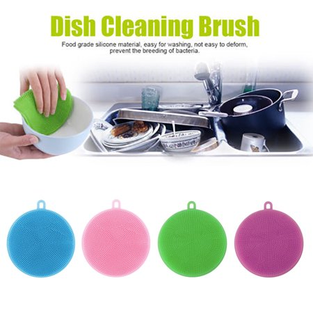 4Pcs Silicone Dish Washing Sponge Scrubber Kitchen Cleaning antibacterial Tool