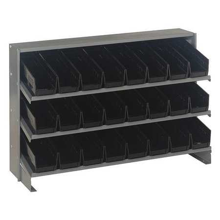 Sloped Shelving System, 24 Bins, Black QUANTUM STORAGE SYSTEMS QPRHA-101BK