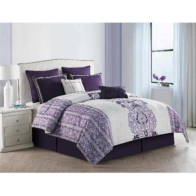 Luxury Home Torrance Comforter Set, Queen - Purple - 8 Piece Set