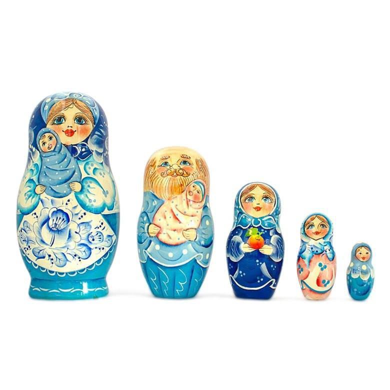 Set of 5 Winter Ride Russian Wooden Matryoshka Nesting Dolls 7 Inches