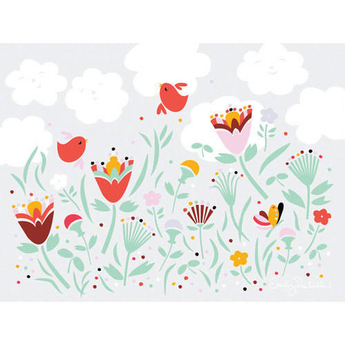 Oopsy Daisy - Happy Day Floral Canvas Wall Art 24x18, Emily Isabella