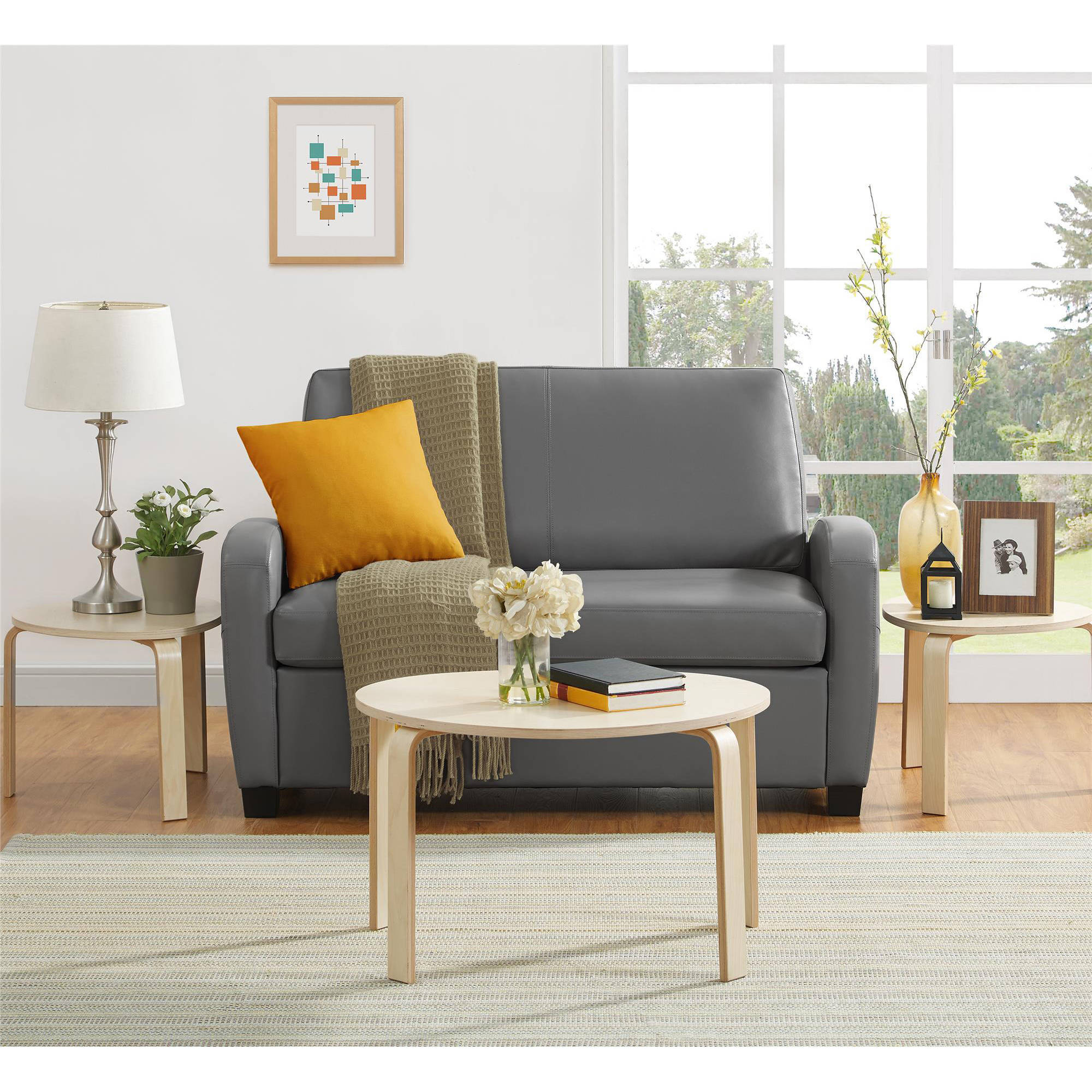 Mainstays 54 Faux Leather Loveseat Sleeper Grey Walmartcom