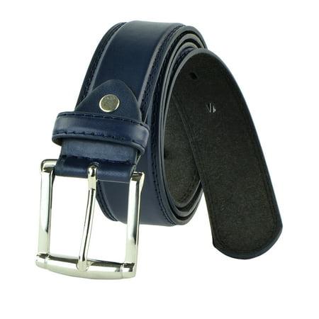 face407ca Moda Di Raza - Moda Di Raza - Men s Classic Leather Belt - 1.5 Inch Width -  Square Silver Polished Belt Buckle - Formal or Casual Dress Belt - PU  Bonded ...