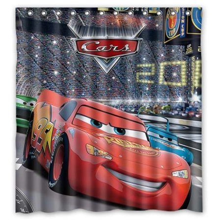 DEYOU Cartoon Cars Lightning McQueen Shower Curtain Polyester Fabric Bathroom Size 66x72 Inch