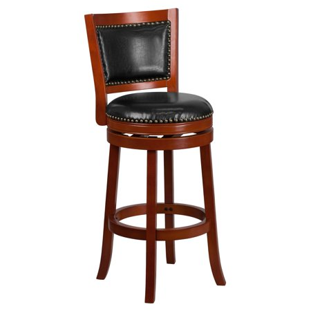 Sensational Flash Furniture 30 High Dark Cherry Wood Barstool With Leather Swivel Seat Multiple Colors Machost Co Dining Chair Design Ideas Machostcouk