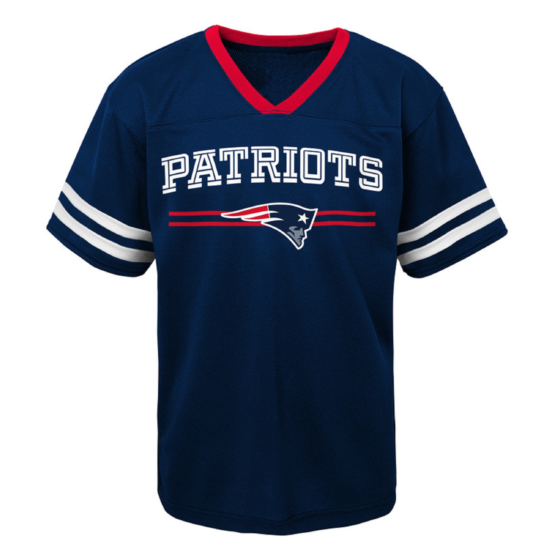 Youth Navy New England Patriots Mesh V-Neck T-Shirt