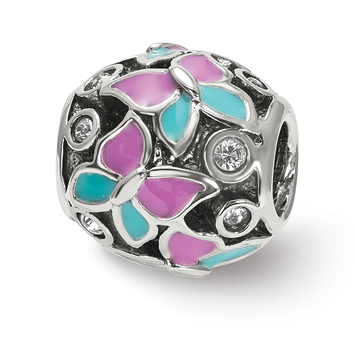 Reflection Beads QRS3926 Sterling Silver Reflections Pink & Blue Enameled CZ Butterfly Bead