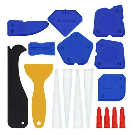Adhesive Caulk Remover - 17 Pieces Caulking Tool Kit Silicone Sealant Finishing Tool Grout Scraper Caulk Remover and Caulk Nozzle and Caulk Caps (Blue)