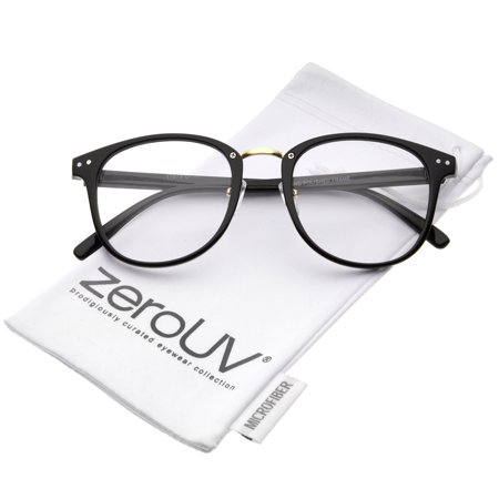 zeroUV - Classic Metal Nose Bridge Clear Lens Square Horn Rimmed Glasses 52mm (Black-Gold / Clear) - (Wide Nose Glasses)