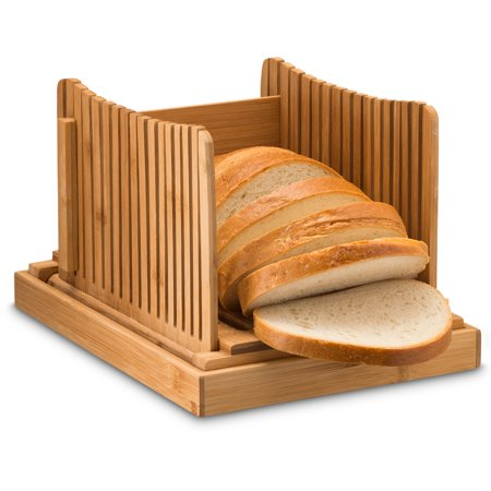 Couples Homemade (Bamboo Foldable Bread Slicer with Crumb Catcher Tray for Cutting Even Slices Every Time, Wooden Manual Bread Slicer Perfect for Homemade Breads and Loaf Cakes, Folds Flat for Easy Storage)