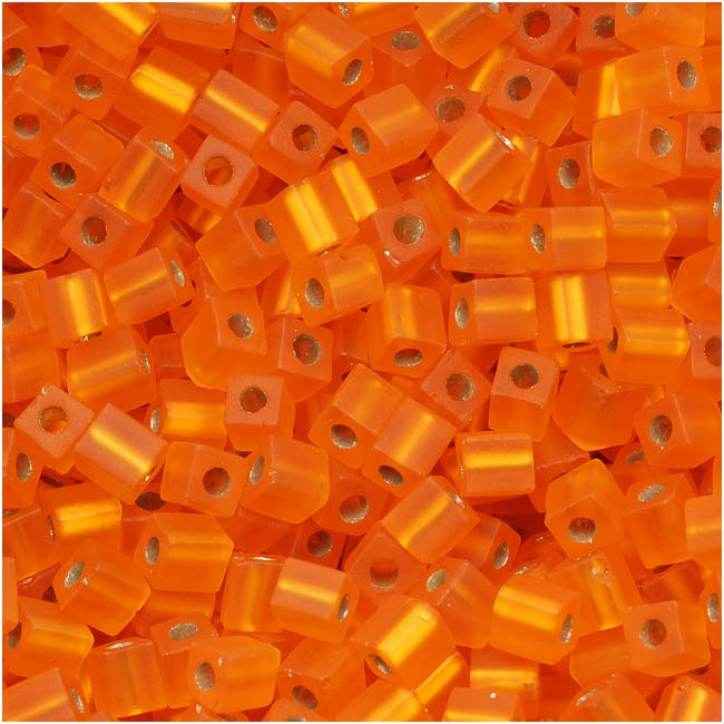Miyuki 4mm Glass Cube Beads Transparent Silver Lined Matte Orange #008F 10 Grams