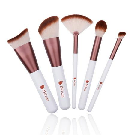 - DUcare Kabuki Makeup Brush Set 5Pcs k Round Small Angled Fan Tapered Precision Foundation Makeup Brushes