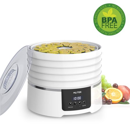 MLITER BPA Free Digital Food Dehydrator Machine with 5 Dishwasher Safe Trays for Meat Fruit Vegetable Herb and Beef Jerky, Countdown Time & Temperature Presetting - Home Use -