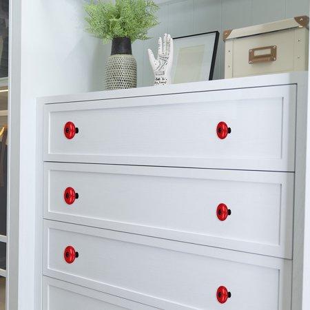 Ceramic Knob Handle Wood Dresser Wardrobe Cabinet Accessory 32mm Dia 4pcs Red - image 4 de 7