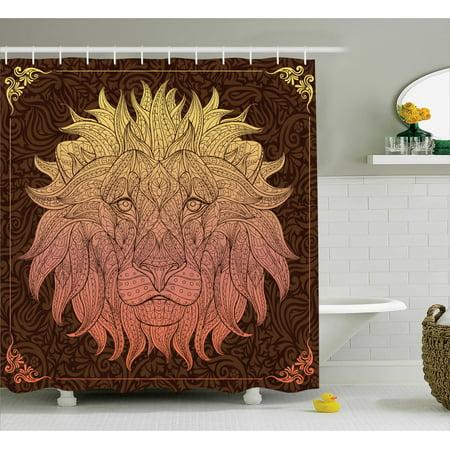 Animal print shower curtain set patterned ornate lion for Zoo bathroom decor