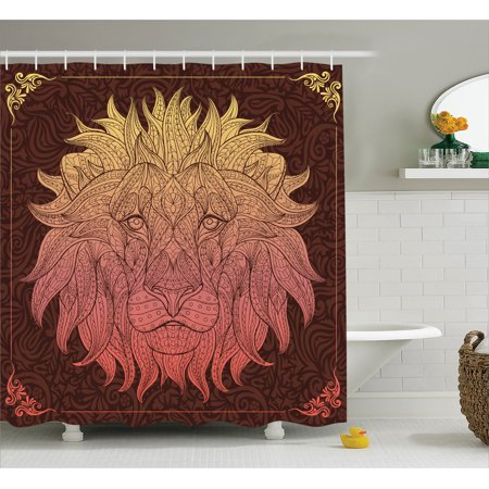 Animal Print Shower Curtain Set Patterned Ornate Lion Head With Digital Featuring Totem Asian Zoo Wild Boho Home Decor Bathroom Yellow Maroon