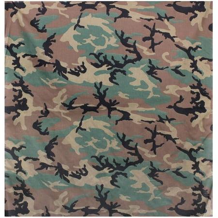 Woodland Camouflage - Military Supersize Bandana 35 - Camo Bandana