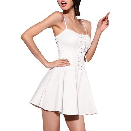 Unique Bargains Women Spaghetti Straps Lace Up Front Mini A Line Dress