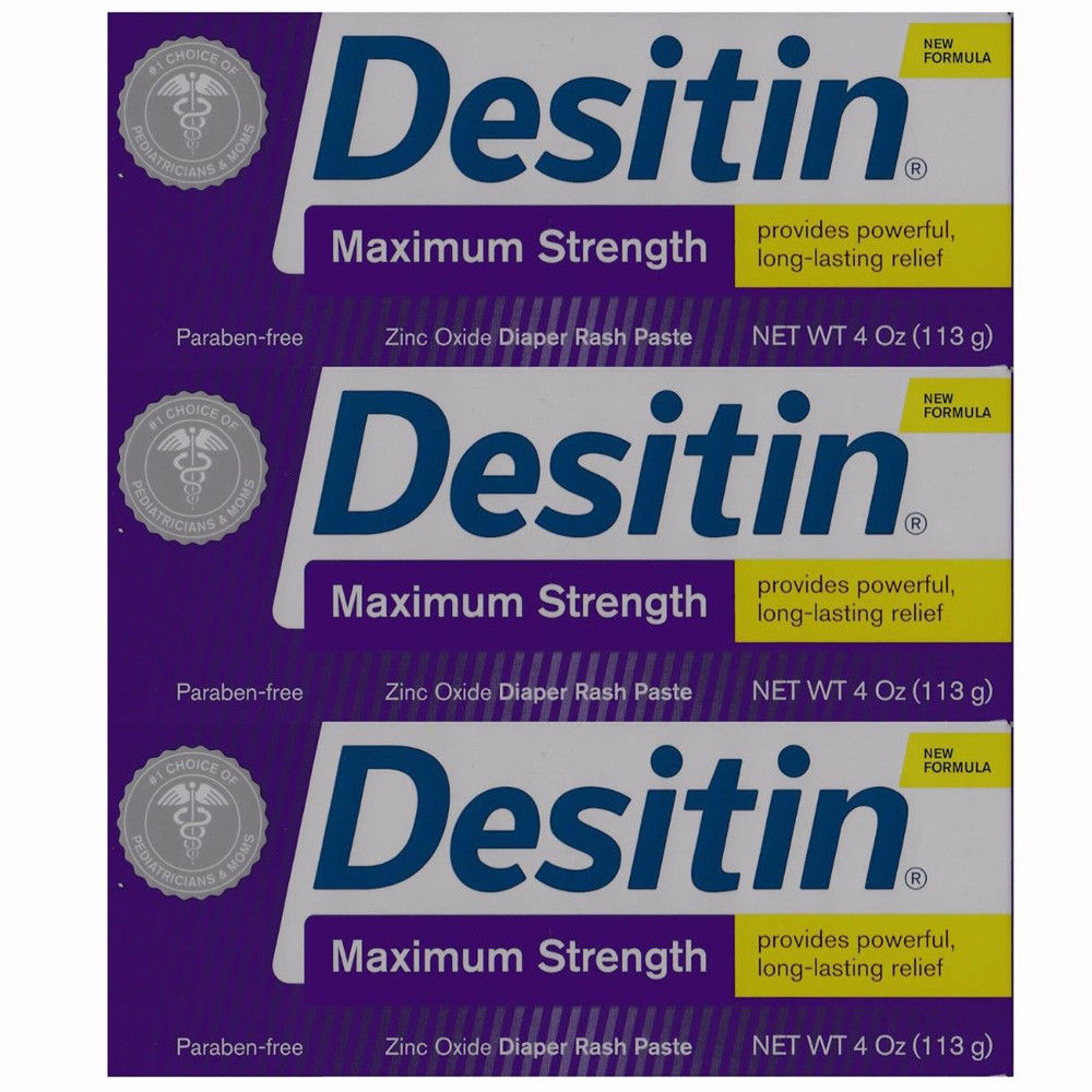 3 PACK - Desitin Maximum Strength Paste Zinc Oxide Diaper Rush 4 Oz. each