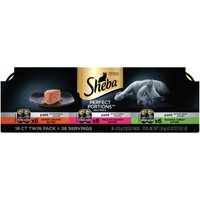 Sheba Perfect Portions Wet Cat Food Pate in Natural Juices Savory Chicken, Salmon, Turkey (Various Counts)