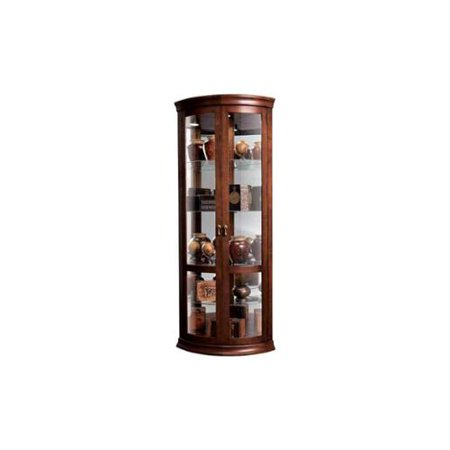Chancellor Glass Shelves Corner Cabinet in Cherry Finish
